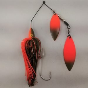 Pumpkin and orange large spinnerbait with double willow blades