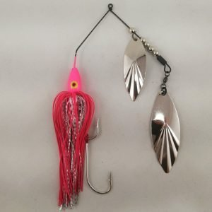 Pink large spinnerbait with double willow blades