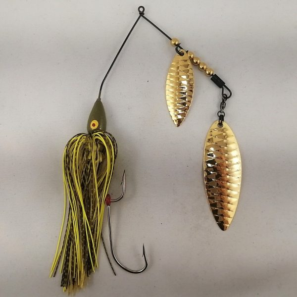 Pumpkin large spinnerbait with gold double willow blades