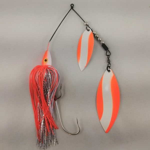 White and orange large spinnerbait with double willow blades