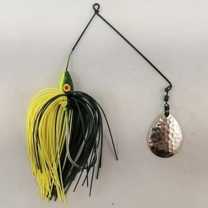 Dark green and chartreuse spinnerbait with a single Colorado blade