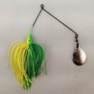 Lime and chartreuse spinnerbait with a single Colorado blade