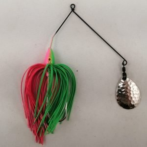Lime and pink spinnerbait with a single Colorado blade