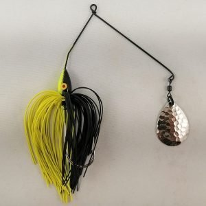 Black and chartreuse spinnerbait with a single Colorado blade