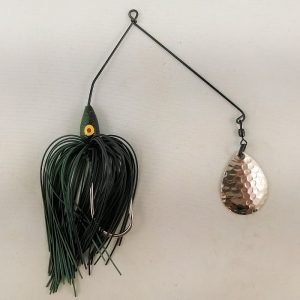 Black and dark green spinnerbait with a single Colorado blade