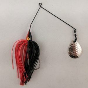 Black and red spinnerbait with a single Colorado blade