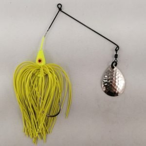 Chartreuse spinnerbait with a single Colorado blade