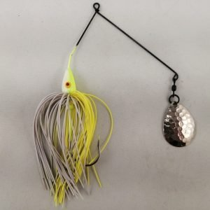 Chartreuse and white spinnerbait with a single Colorado blade