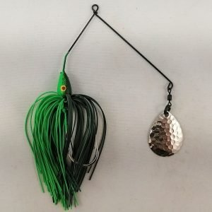 Dark green and lime spinnerbait with a single Colorado blade