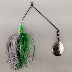 Lime and white spinnerbait with a single Colorado blade