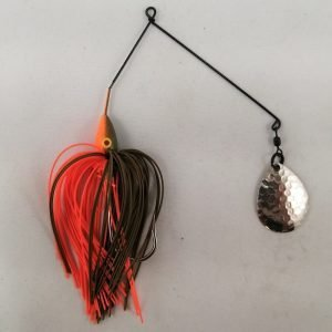 Pumpkin and orange spinnerbait with a single Colorado blade