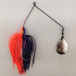 Purple and orange spinnerbait with a single Colorado blade