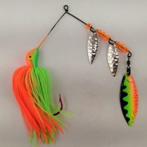 Lime and orange spinnerbait with three willow blades