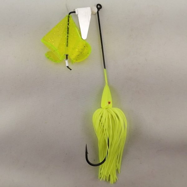 Chartreuse buzzbait with four blades and a clacker