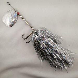 Silver inline spinner with double 10 blades and two sets of treblehooks