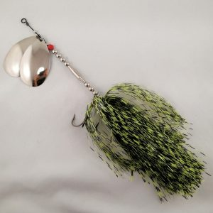 Black and lime barred inline spinner with double 10 blades and two sets of treblehooks
