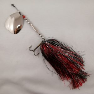 Black and red inline spinner with double 10 blades and two sets of treblehooks