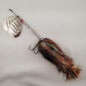 Fall craw inline spinner with double 10 blades and two sets of treblehooks