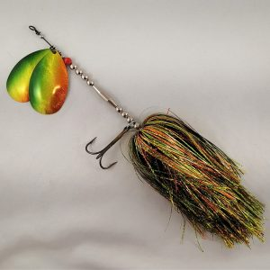 Firetiger inline spinner with double 10 blades and two sets of treblehooks