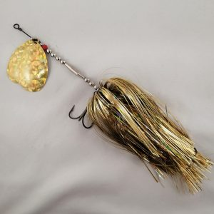 Gold inline spinner with double 10 blades and two sets of treblehooks