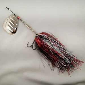 Red and silver inline spinner with double 10 blades and two sets of treblehooks