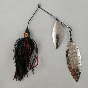 Black and red spinnerbait with double hexagon patterned willow blades