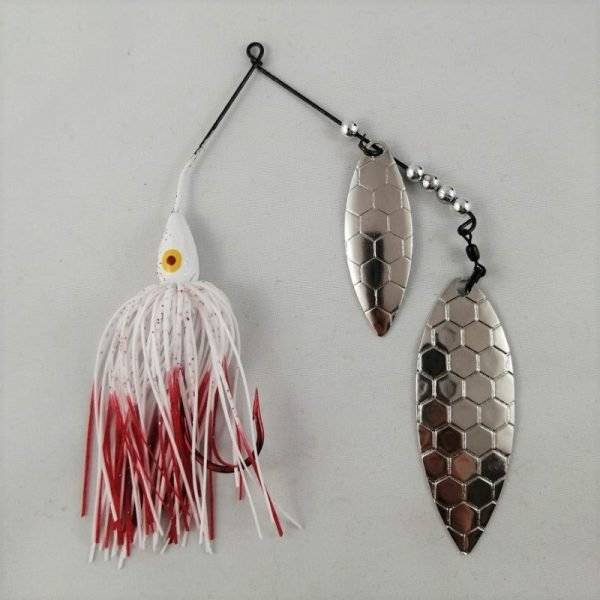White and red spinnerbait with double hexagon patterned willow blades