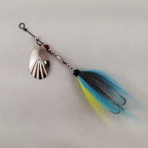 Bluegill pattern bucktail inline spinner with silver blade