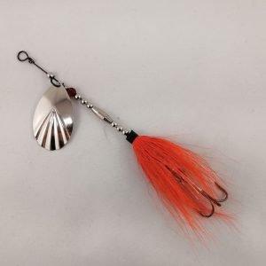 Orange bucktail inline spinner with silver blade