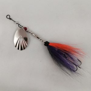 Purple, orange, and shad grey bucktail inline spinner with silver blade